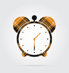 Orange black tartan isolated icon - alarm clock vector