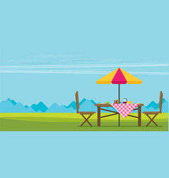 outdoor picnic in park table with chairs and vector image