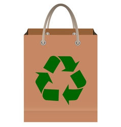 Paper bag with recycle symbol vector image