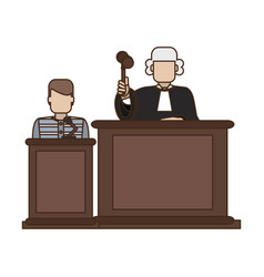prisoner and judge in courtroom vector image
