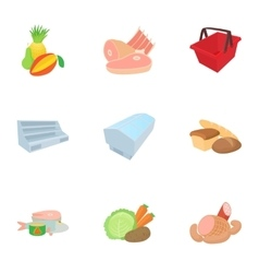 Products in store icons set cartoon style vector image