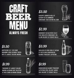 pub menu beer drink menu for restaurant or cafe vector image