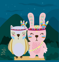 Rabbit and owl cute hippie cartoon vector