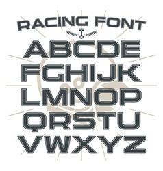 Sans serif font in retro racing style vector image