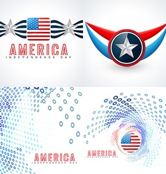 set of american independence day flag design vector image