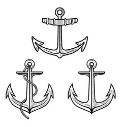 set of anchors isolated on white background vector image