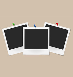 Set of realistic photo frames on colored pins vector