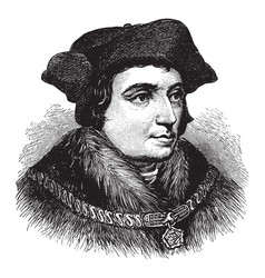 Sir thomas more face after holbein vintage vector