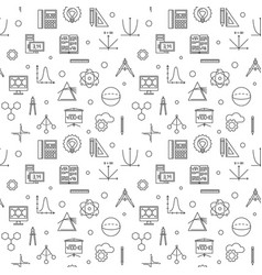 Stem science seamless pattern in thin line vector