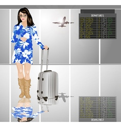 Stylish Travelling Lady with a Suitcase vector image