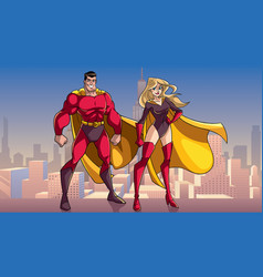 Superhero couple standing tall in city vector