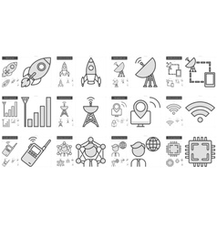 Technology line icon set vector image