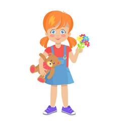 Template of little girl with teddy bear vector
