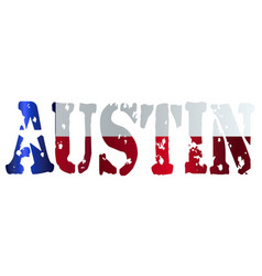 Texas state flag as austin text vector