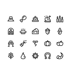 Thanksgiving line icons vector