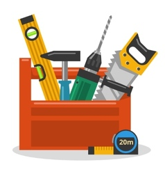 Tools in toolbox vector image vector image