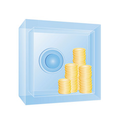 transparent safe with gold coins vector image