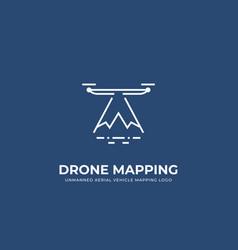 Uav drone landscape mapping logo in monoline line vector