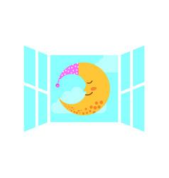 windows bedroom with cute moon vector image