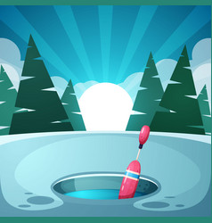 winter night landscape float fishing ice vector image