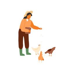 woman farmer holding bucket seeds and feeding vector image