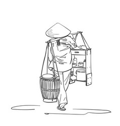 woman in vietnamese hat carrying yoke on her vector image