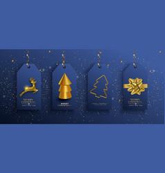 year gold 3d deer ornament tag set vector image
