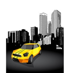 Yellow small sport car with cityscape at the vector