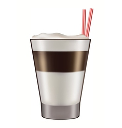 Mug of layered caffe latte vector image vector image