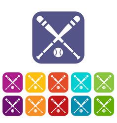 baseball bat and ball icons set vector image