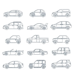 Car Icons in the Linear Style vector image vector image