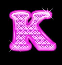 K letter pink bling girly vector image vector image