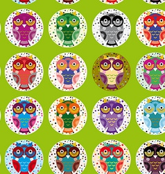 little funny owls on green background seamless vector image