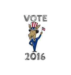 Vote 2016 Democrat Donkey Mascot Flag Cartoon vector image vector image