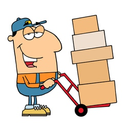 Delivery Guy Moving Boxes vector image vector image
