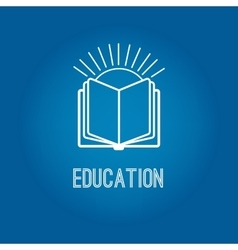Education logo with open book vector image vector image