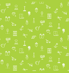 gardening line icons seamless pattern vector image