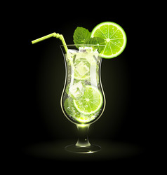 mojito cocktail with lime and mint leaves vector image vector image