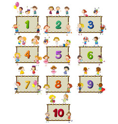 number one to ten with children in background vector image vector image