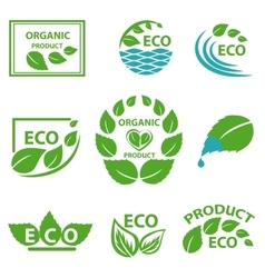Organic products leaflet water logo vector image
