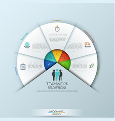 rounded infographic design layout with 5 sectoral vector image vector image