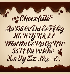 latin alphabet in liquid style hand writing brown vector image