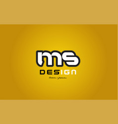 ms m s alphabet letter combination digit white on vector image