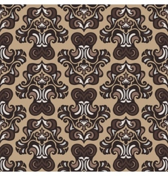 Retro seamless pattern damask sepia vector image