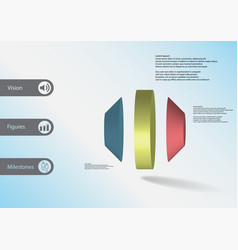3d infographic template with round octagon vector image