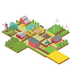3d isometric rural farm with mill garden vector