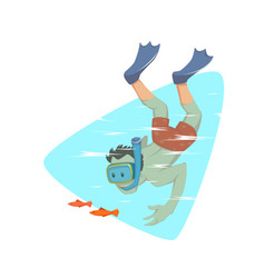 A man snorkeling in the ocean vector