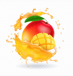 A splash of juice with mango and mango slices vector