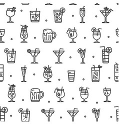 alcohol cocktail seamless pattern background vector image