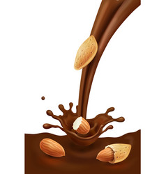 Almond in liquid melted pouring chocolate vector
